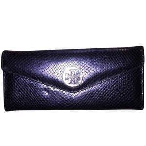auth TORY BURCH lizard leather FLAP FRONT wallet